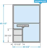 size chart image for impervia single-hung windows